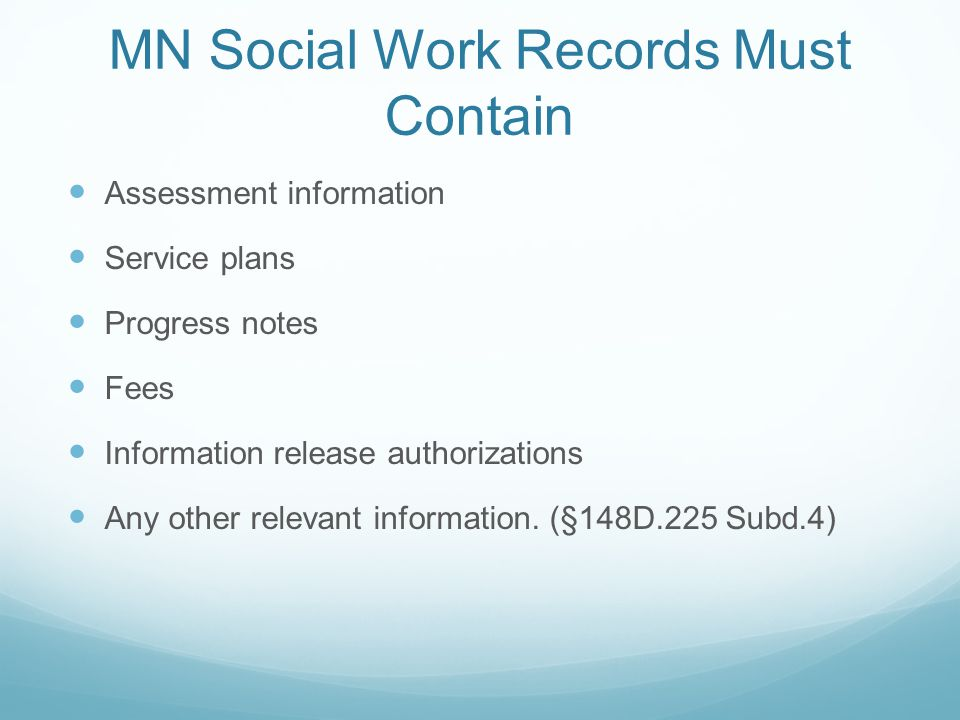 MN Social Work Records Must Contain