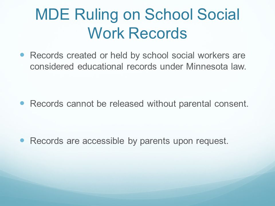 MDE Ruling on School Social Work Records