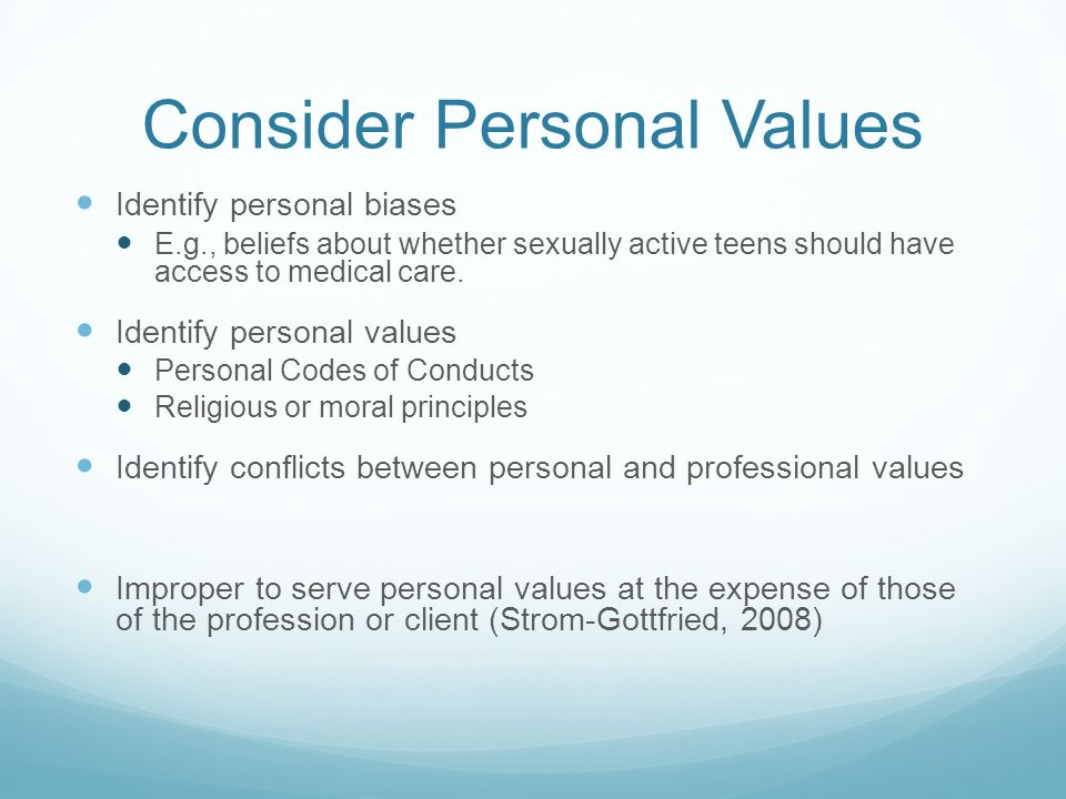 Consider Personal Values