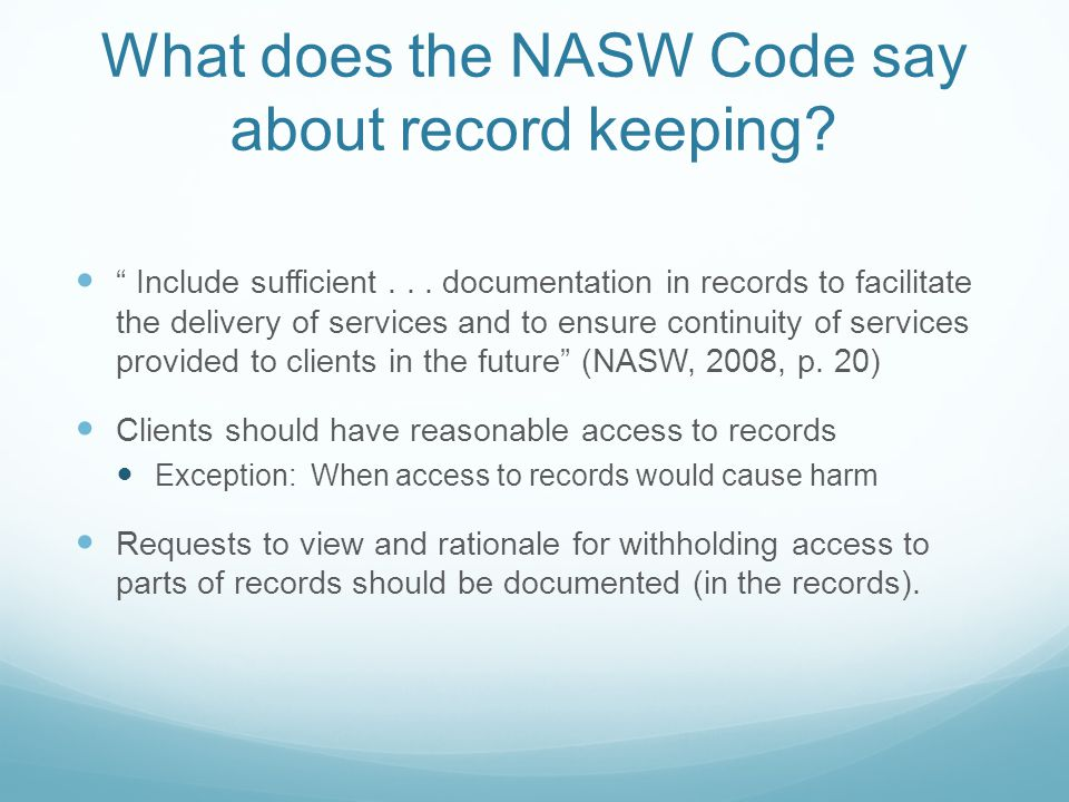 What does the NASW Code say about record keeping
