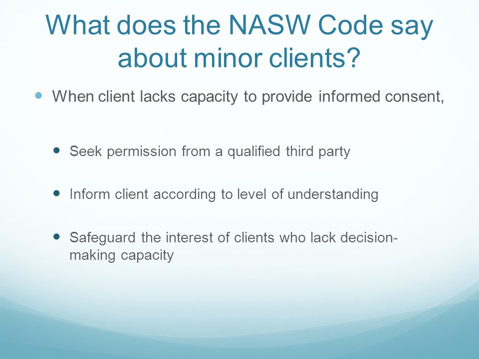 What does the NASW Code say about minor clients