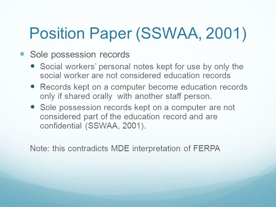 Position Paper (SSWAA, 2001)