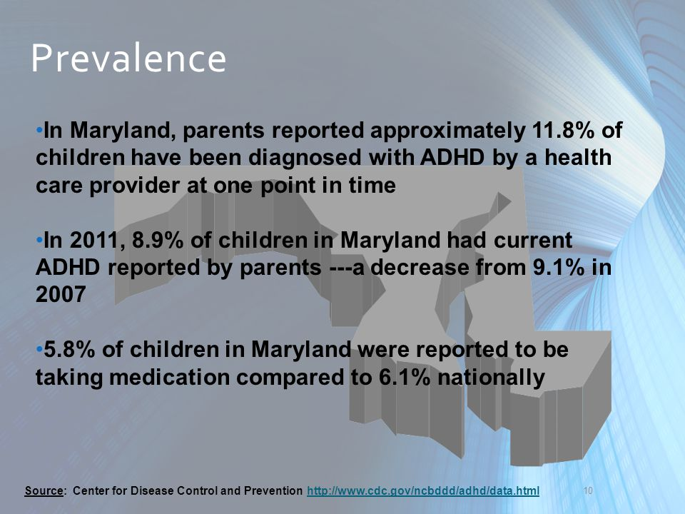 Prevalence In Maryland, parents reported approximately 11.8% of children have been diagnosed with ADHD by a health care provider at one point in time.