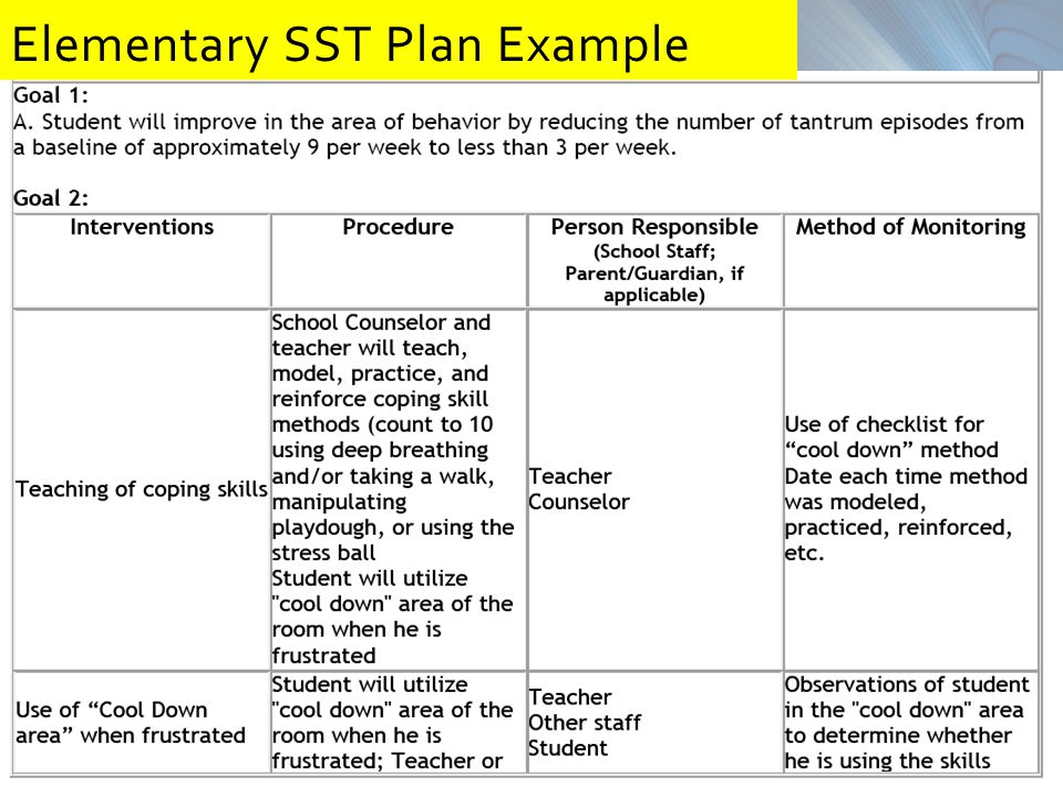 Elementary SST Plan Example