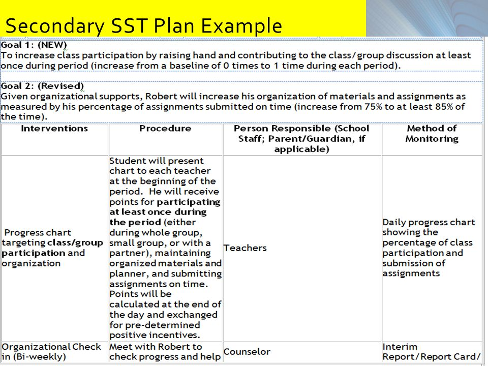 Secondary SST Plan Example