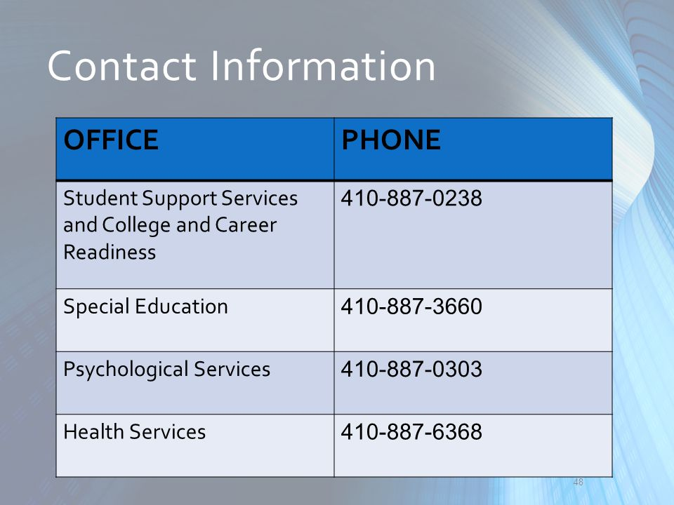 Contact Information OFFICE. PHONE. Student Support Services and College and Career Readiness. 410-887-0238.
