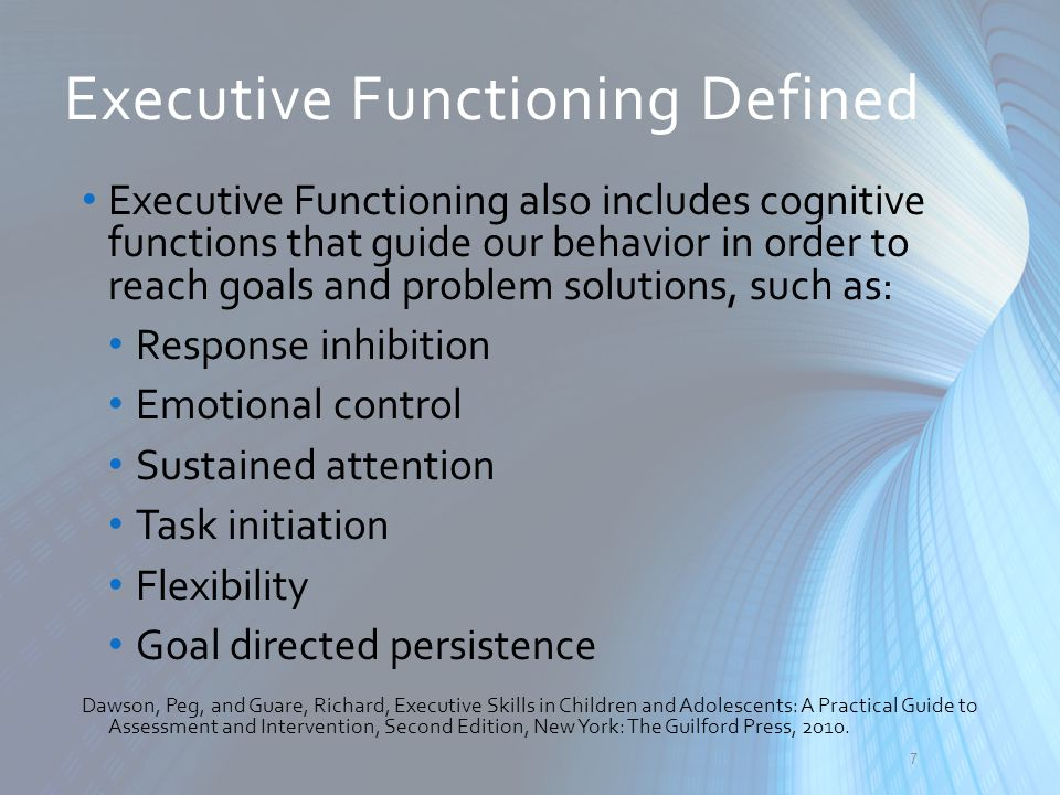 Executive Functioning Defined