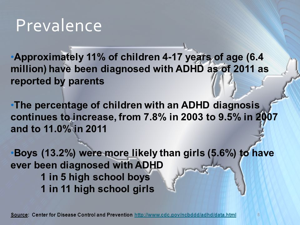 Prevalence Approximately 11% of children 4-17 years of age (6.4 million) have been diagnosed with ADHD as of 2011 as reported by parents.