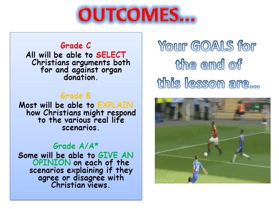 OUTCOMES... Your GOALS for the end of this lesson are… Grade C