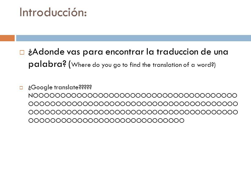 Introducción: ¿Adonde vas para encontrar la traduccion de una palabra (Where do you go to find the translation of a word )