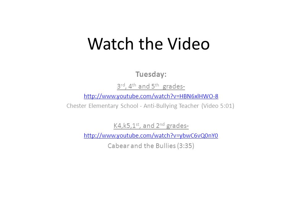 Watch the Video Tuesday: 3rd, 4th and 5th grades-