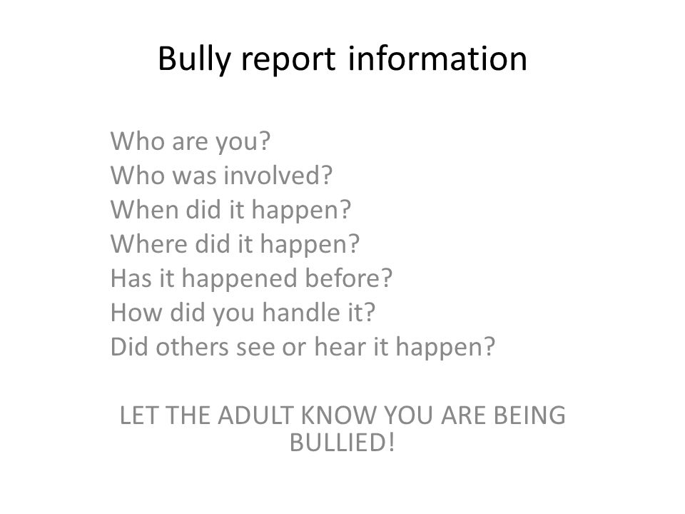 Bully report information