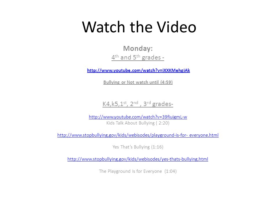 Watch the Video Monday: 4th and 5th grades -