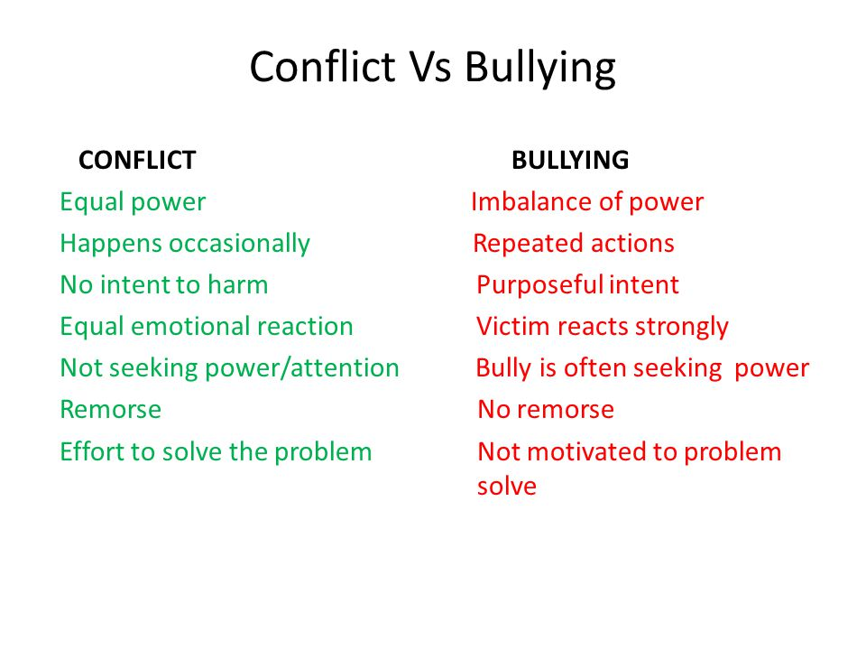 Conflict Vs Bullying CONFLICT BULLYING Equal power Imbalance of power