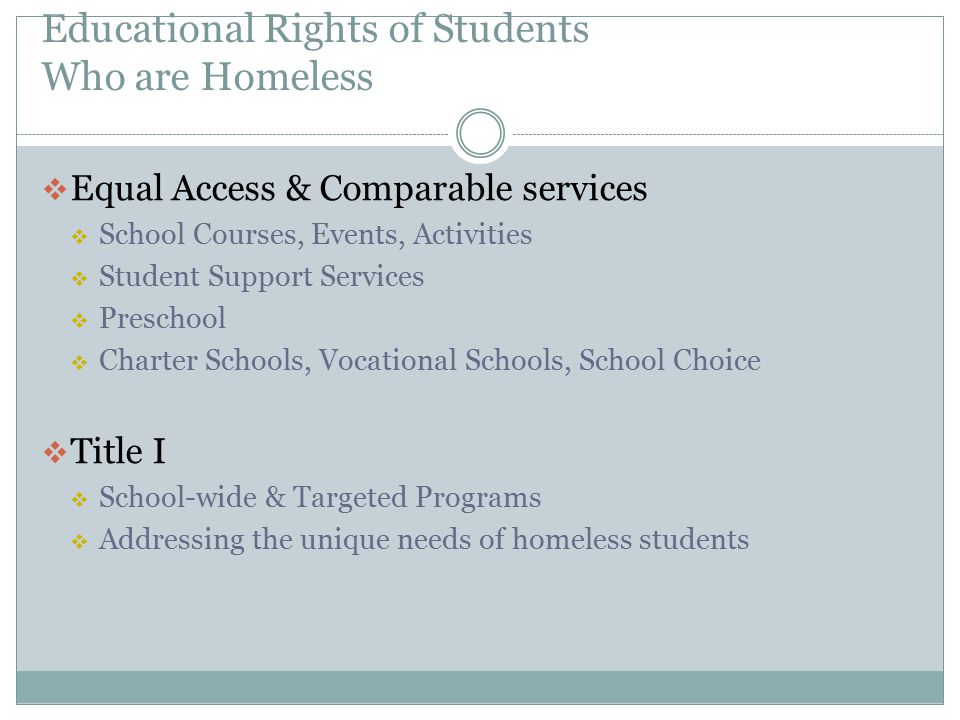 Educational Rights of Students Who are Homeless