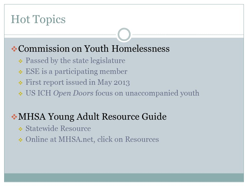 Hot Topics Commission on Youth Homelessness