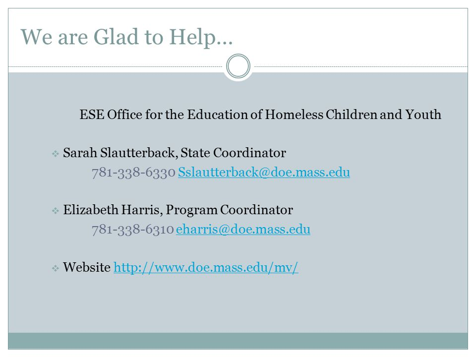 ESE Office for the Education of Homeless Children and Youth
