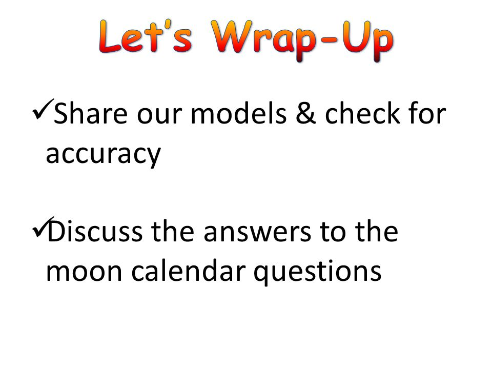 Let's Wrap-Up Share our models & check for accuracy
