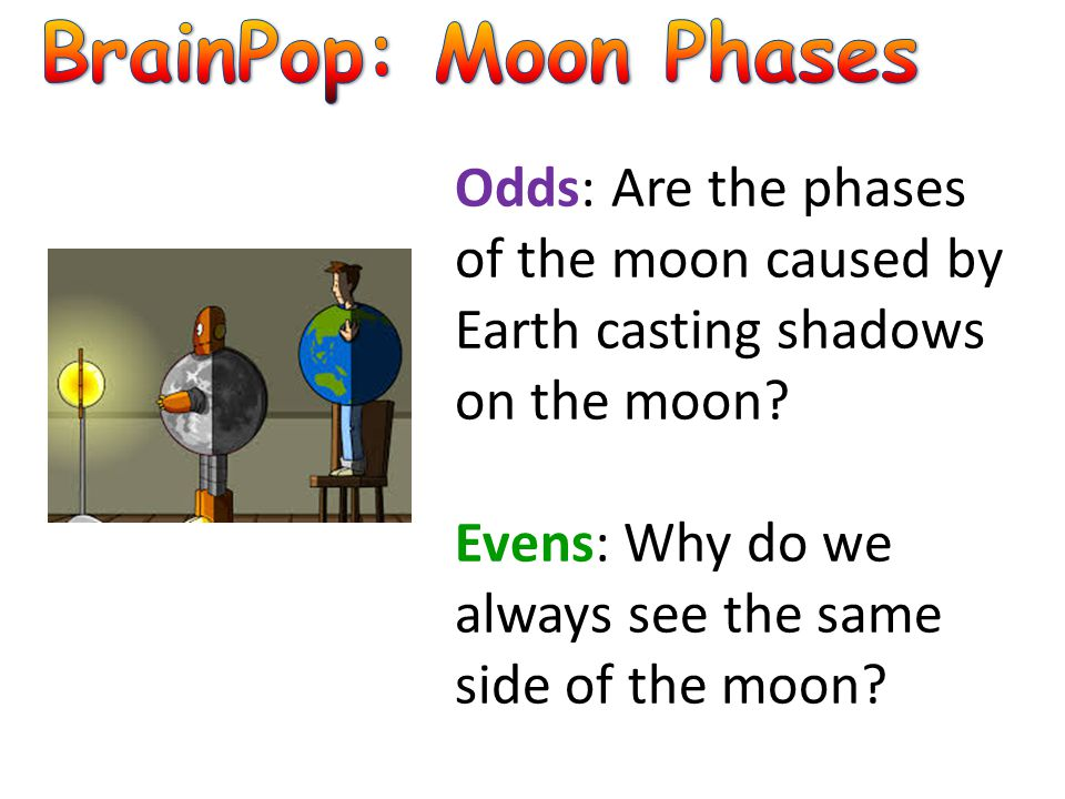 BrainPop: Moon Phases Odds: Are the phases of the moon caused by Earth casting shadows on the moon