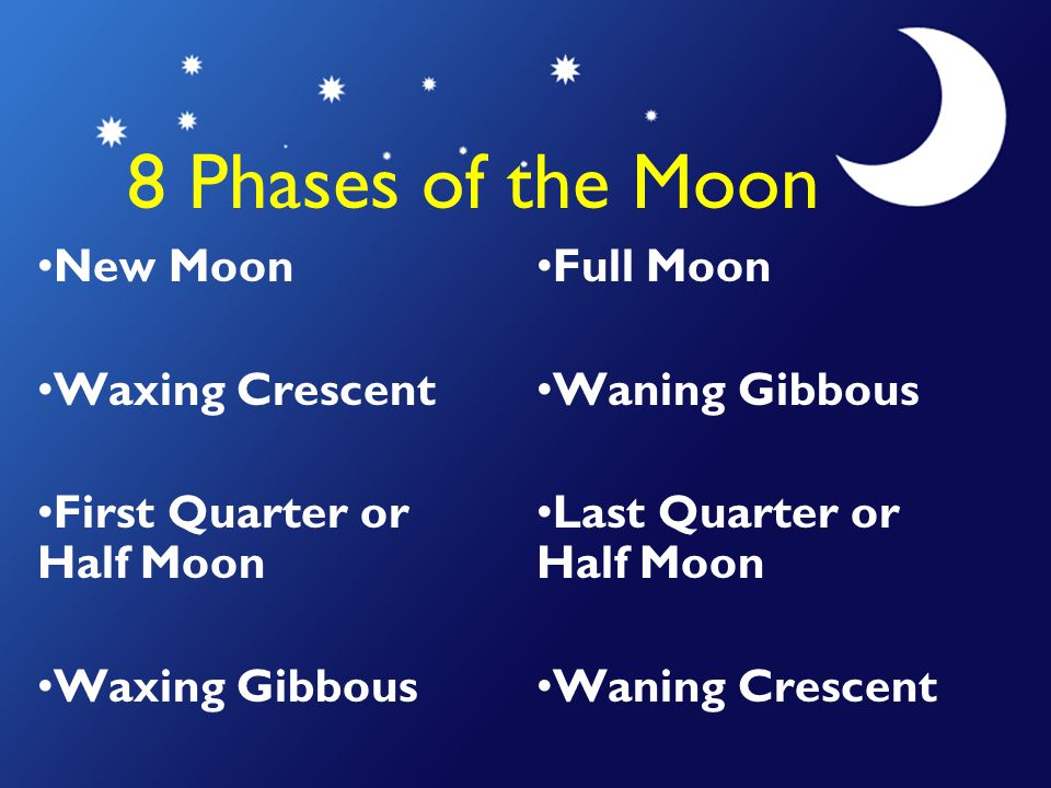 8 Phases of the Moon New Moon Waxing Crescent
