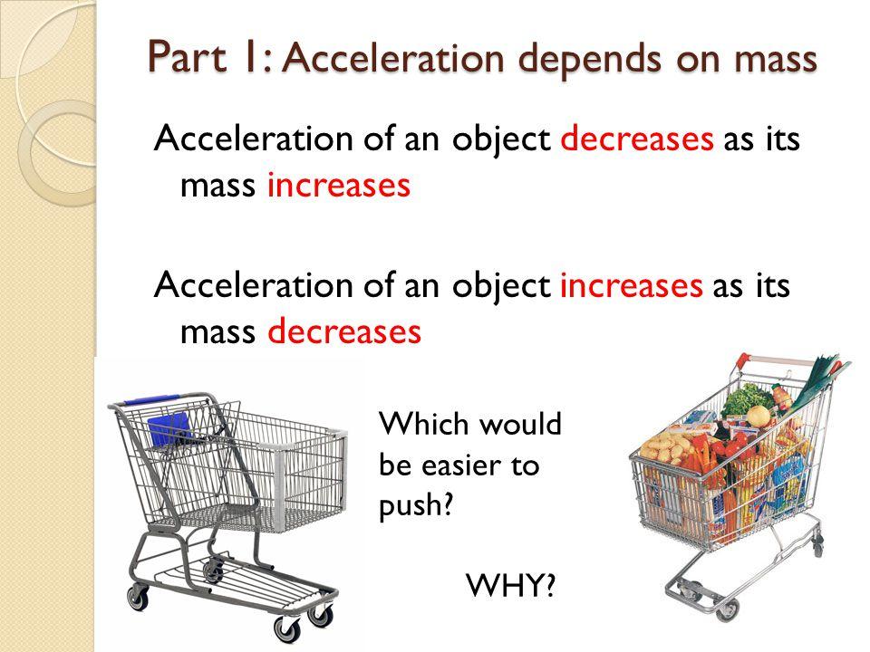 Part 1: Acceleration depends on mass