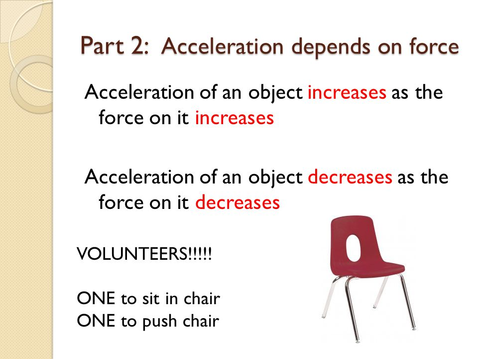 Part 2: Acceleration depends on force