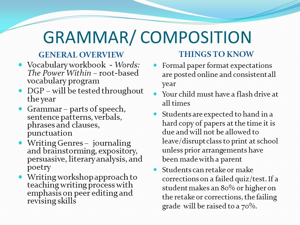 GRAMMAR/ COMPOSITION THINGS TO KNOW GENERAL OVERVIEW