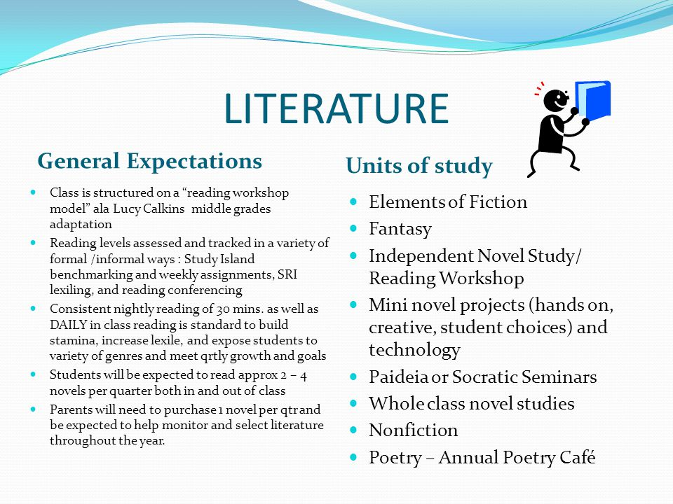 LITERATURE General Expectations Units of study Elements of Fiction