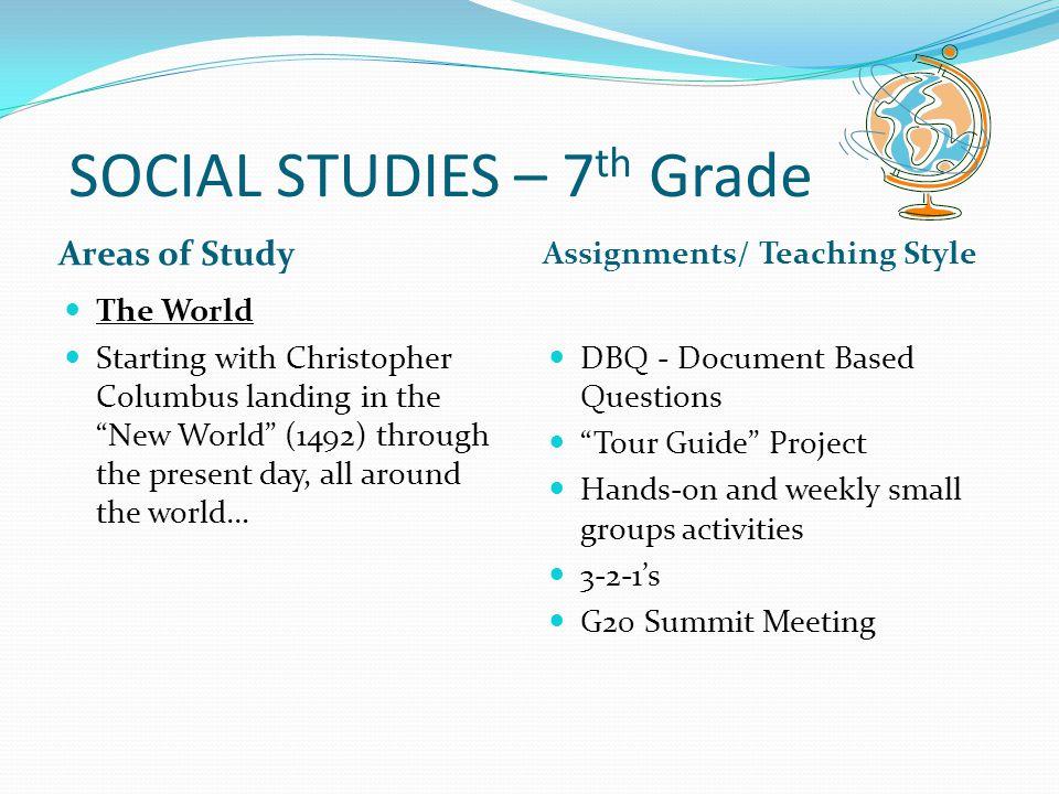 SOCIAL STUDIES – 7th Grade