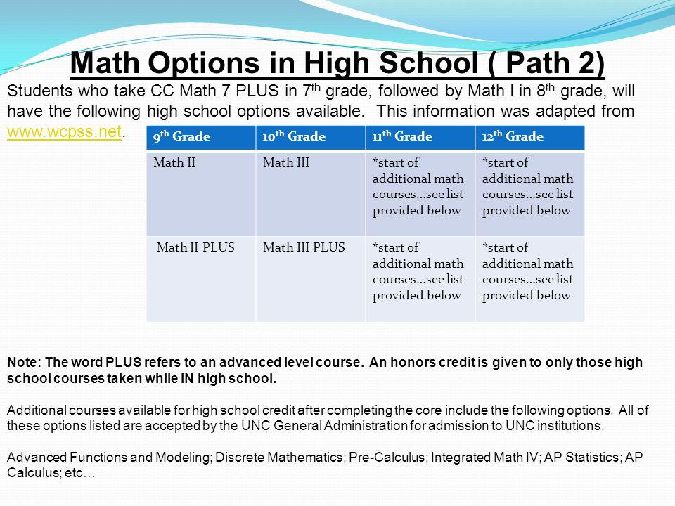 Math Options in High School ( Path 2)