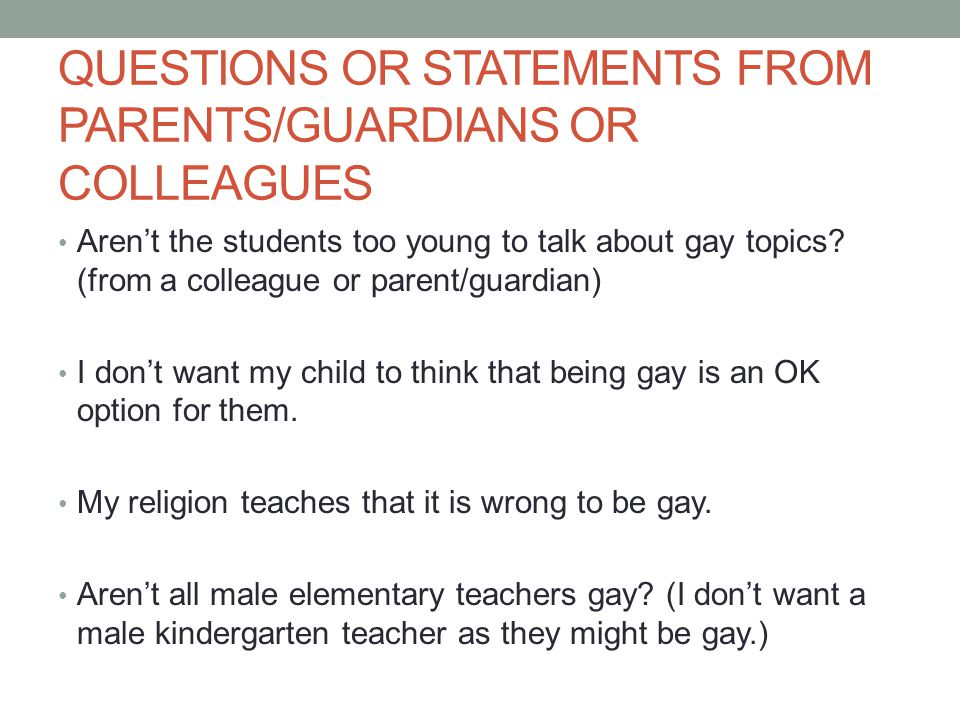 QUESTIONS OR STATEMENTS FROM PARENTS/GUARDIANS OR COLLEAGUES