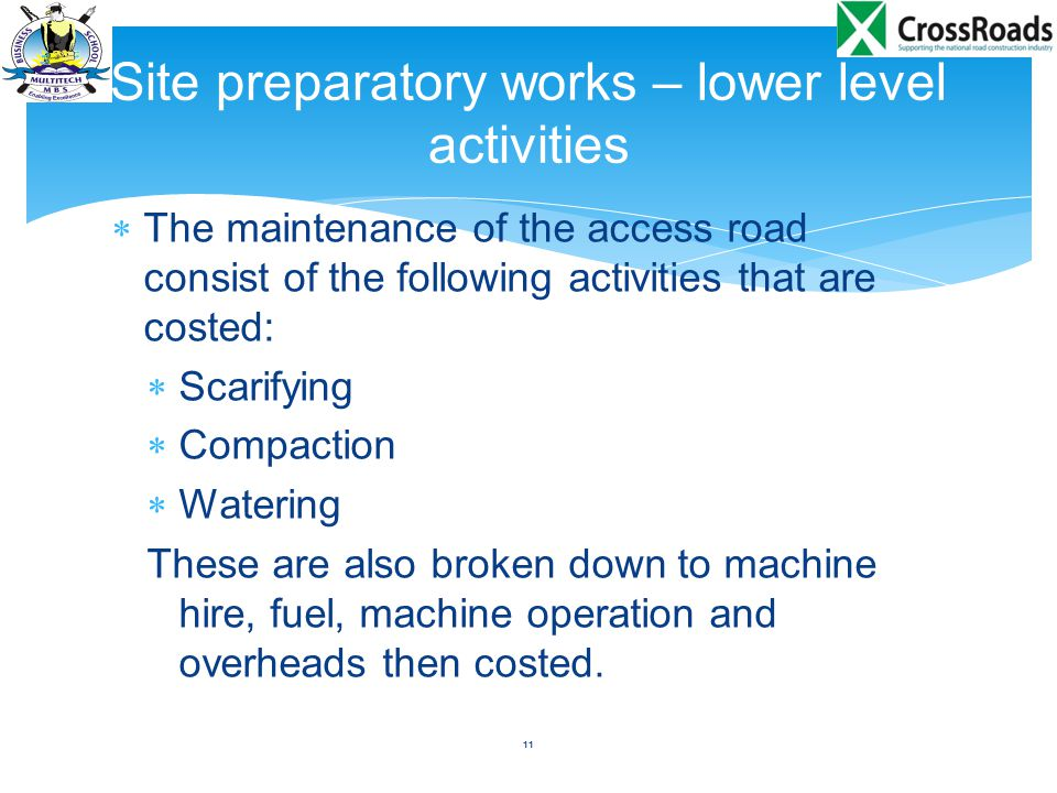 Site preparatory works – lower level activities