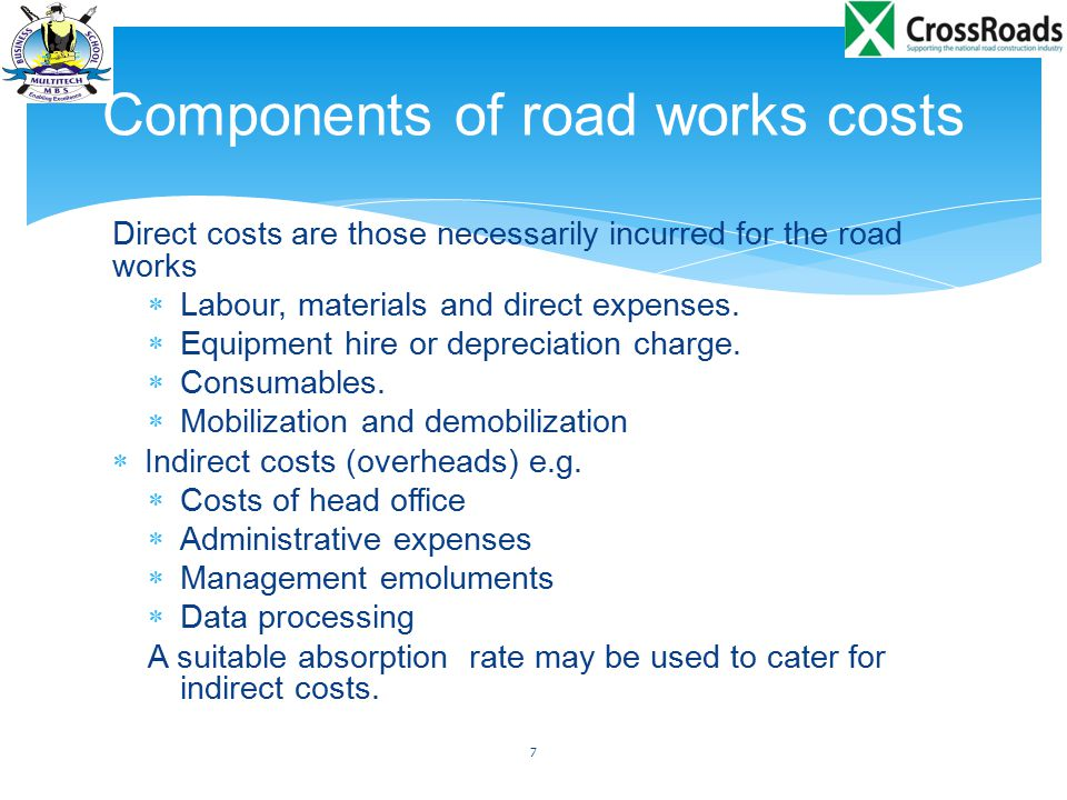Components of road works costs