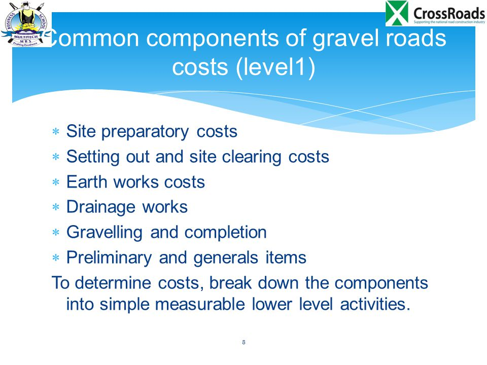 Common components of gravel roads costs (level1)