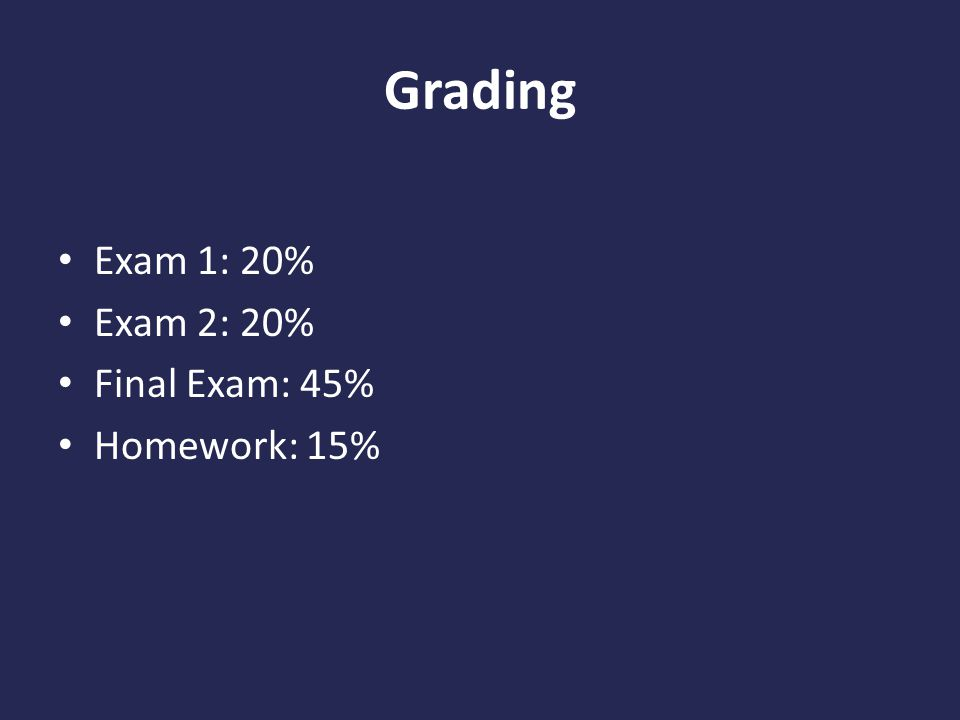 Grading Exam 1: 20% Exam 2: 20% Final Exam: 45% Homework: 15%