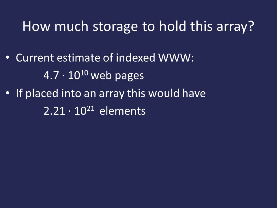 How much storage to hold this array