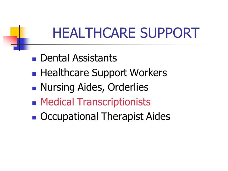 HEALTHCARE SUPPORT Dental Assistants Healthcare Support Workers
