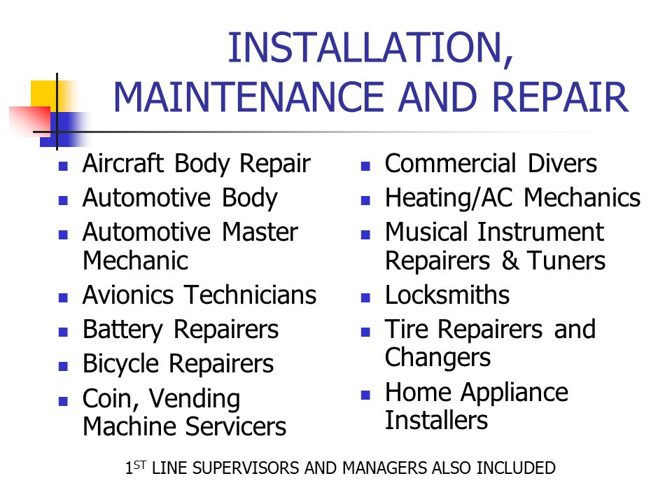 INSTALLATION, MAINTENANCE AND REPAIR
