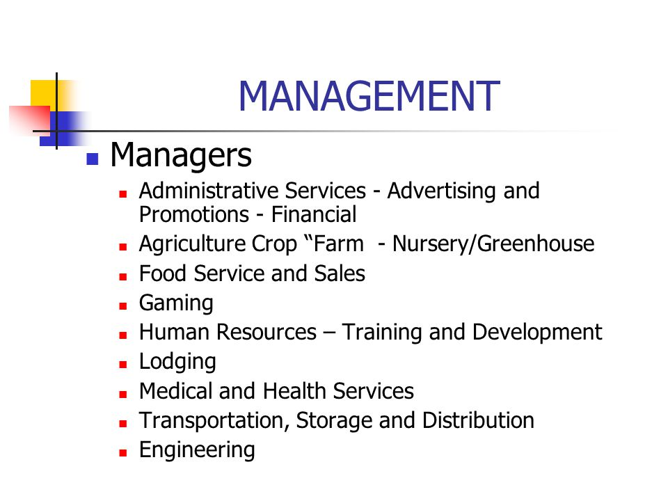 MANAGEMENT Managers. Administrative Services - Advertising and Promotions - Financial. Agriculture Crop Farm - Nursery/Greenhouse.