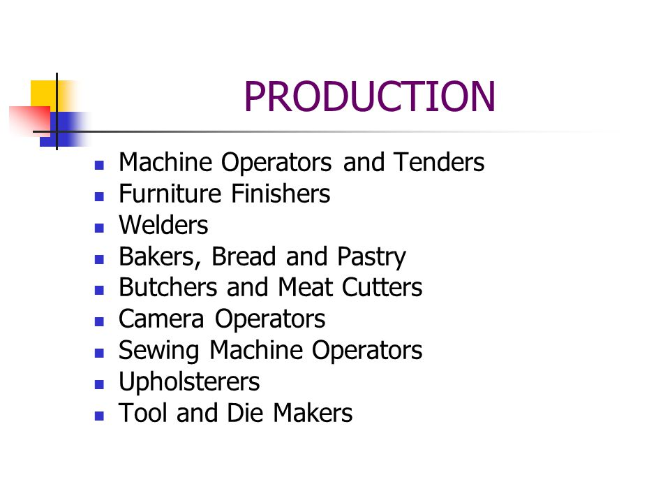 PRODUCTION Machine Operators and Tenders Furniture Finishers Welders