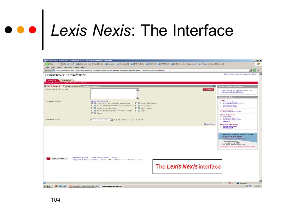 Lexis Nexis: The Interface