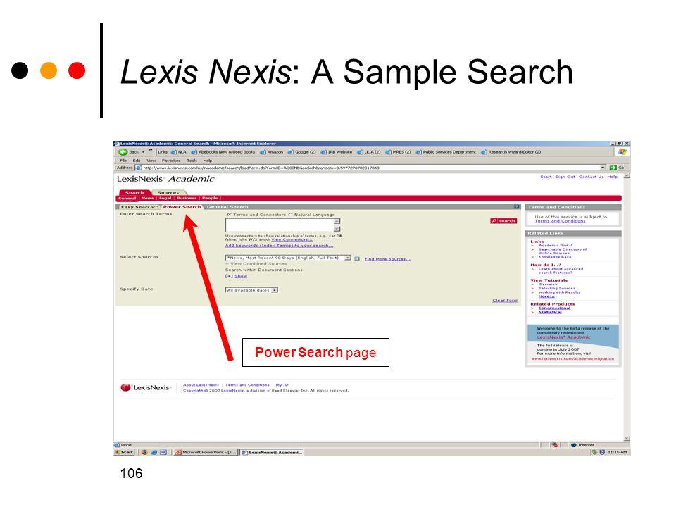 Lexis Nexis: A Sample Search