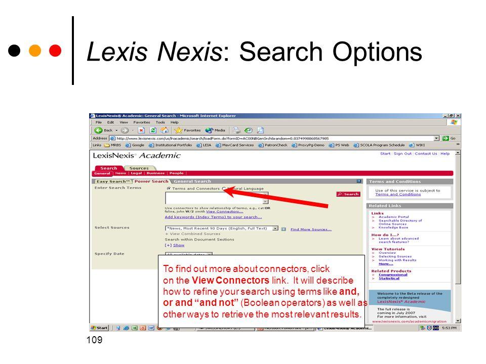 Lexis Nexis: Search Options