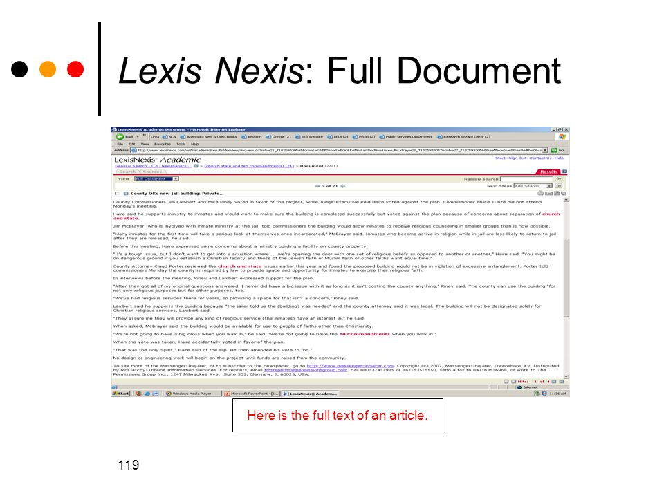 Lexis Nexis: Full Document