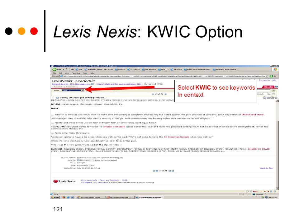 Lexis Nexis: KWIC Option