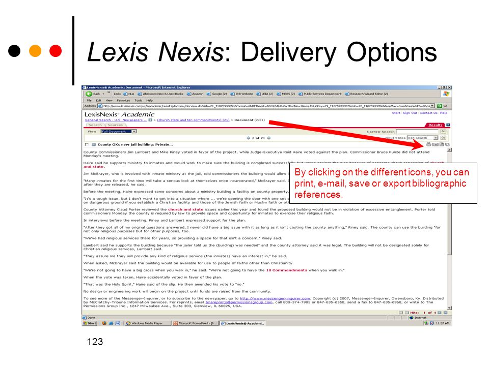 Lexis Nexis: Delivery Options