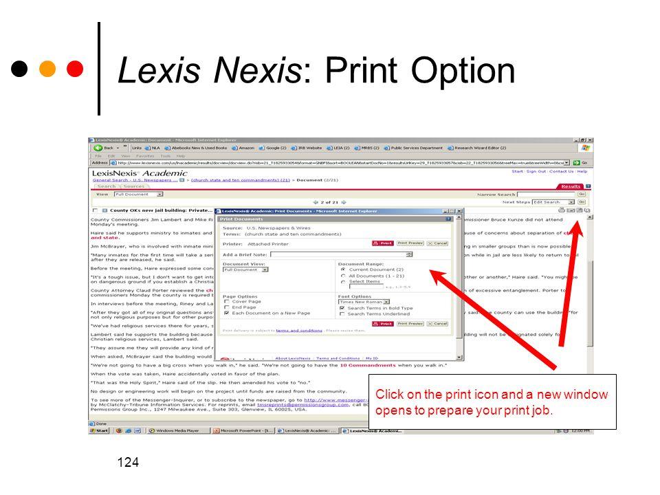 Lexis Nexis: Print Option
