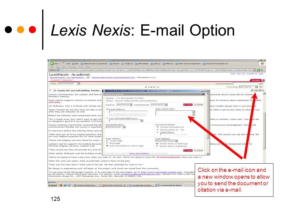 Lexis Nexis: E-mail Option