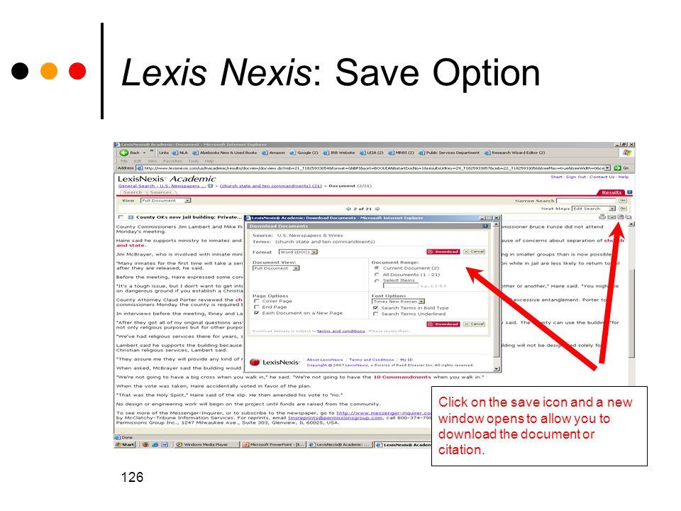 Lexis Nexis: Save Option