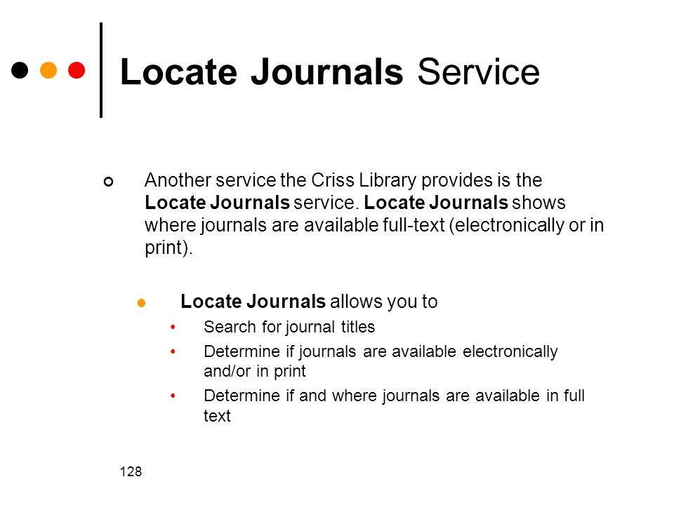 Locate Journals Service